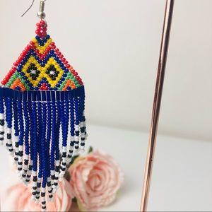 Colourful Long Fringed Seed Bead Earrings